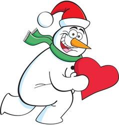 Cartoon running snowman holding a heart vector image