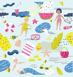 Childish summer beach vacation seamless pattern vector
