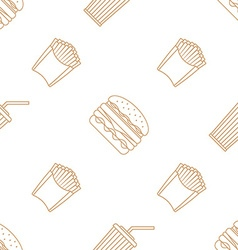 cola hamburger french fries outline seamless vector image vector image