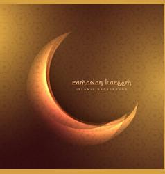 Crescent moon on golden background vector