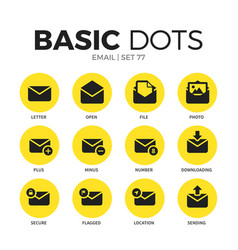 email flat icons set vector image vector image