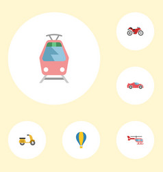 flat icons luxury auto chopper streetcar and vector image vector image
