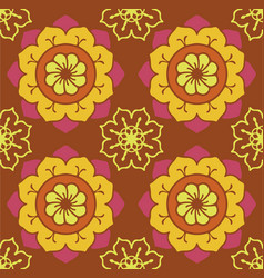 geometric flowers pattern vector image vector image