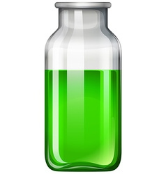 Green liquid in glass bottle vector image vector image