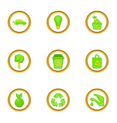 Green things icons set cartoon style vector