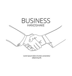 Handshake continuous line drawing business vector