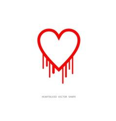 Heartbleed openssl bug shape bleeding heart vector