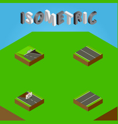 Isometric way set of flat repairs underground vector