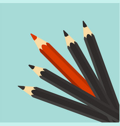 Leadership concept red unique different pencil vector