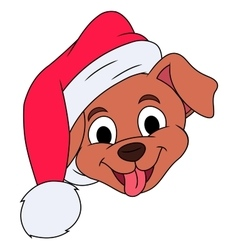 Little puppy with Santa hat 3 vector image vector image