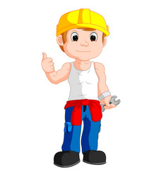 mechanic cartoon thumb up vector image