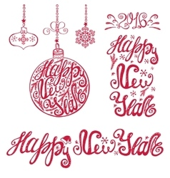 New year letteringcards typography elements vector