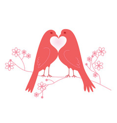 Pair of lovebirds valentines day vector