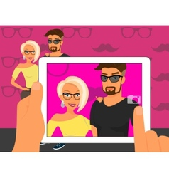 Photographing of happy couple on fuchsia vector image vector image