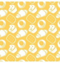 Seamless pattern outline delicious pastries vector image vector image