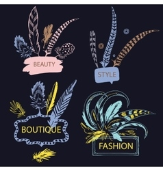 Set of feather with frame hand drawn vector