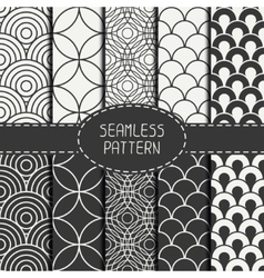 Set of monochrome fashion geometri seamless vector image vector image