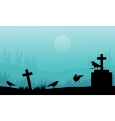 Silhouette of crow and tomb halloween with fog vector