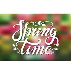Spring time letteringgreenpink blurred vector
