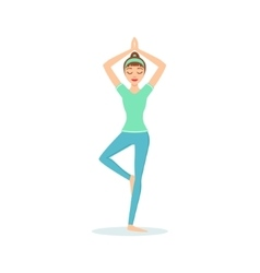 Tree vriksasana yoga pose demonstrated by the girl vector
