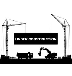 Under construction concept at building site with vector
