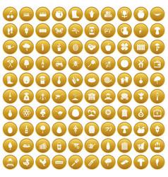 100 farming icons set gold vector