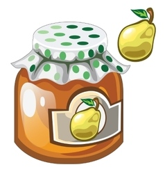 Glass jar with jam or marmalade and pear vector