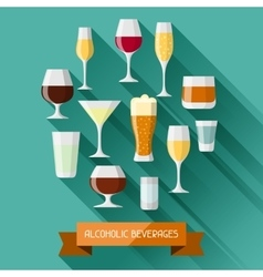 Alcohol drinks background design glasses for vector