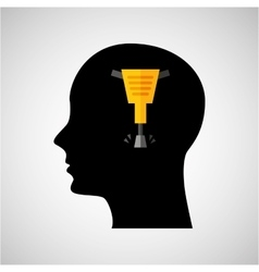 Head silhouette jackhammer construction icon vector