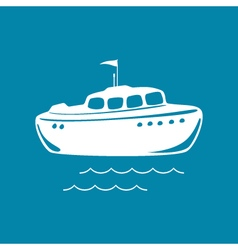 Lifeboat isolated on blue vector