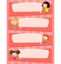 Bubble speech designs with children vector image