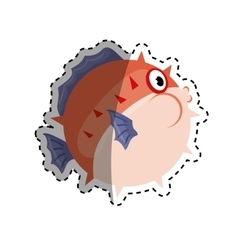 Sea blowfish cartoon vector