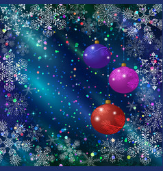 Christmas background with balls and snowflakes vector