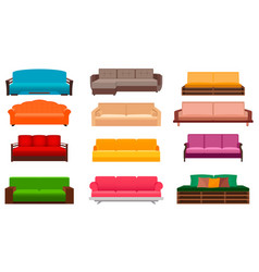 Group of nine bright sofas of different kind vector