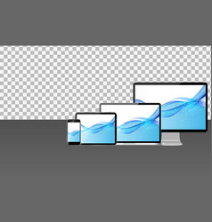Realistic computer laptop mobile phone tablet pc vector