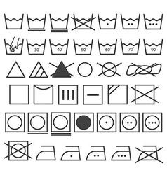 Laundry Icons Set Washing Symbol vector image
