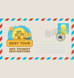 Postal envelope with on travel theme vector
