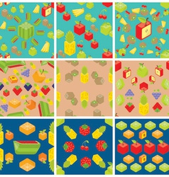 Cubic fruits pattern vector