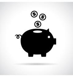 Piggy bank icon with coins falling in vector