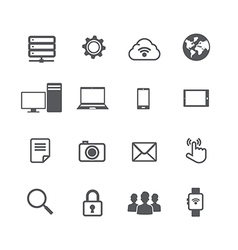 Set of computer and social network connection icon vector