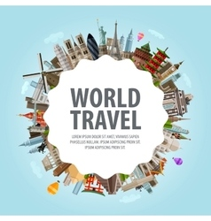 World travel collection of famous architecture of vector