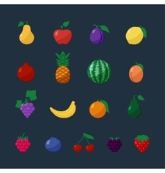 Icons fruits and berries in flat style set vector