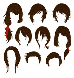 Hair styling for woman drawing brown set 1 vector