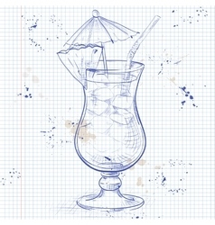 The singapore sling cocktail on a notebook page vector