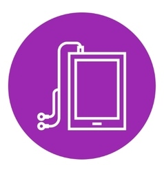 Tablet with headphones line icon vector