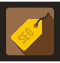 Seo yellow tag icon flat style vector