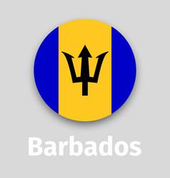barbados flag round icon vector image vector image