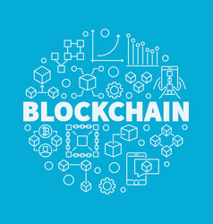 Blockchain technology linear vector