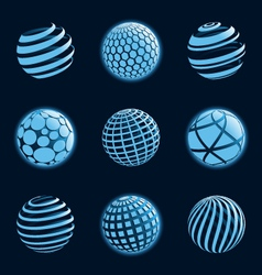 blu planet icons vector image vector image