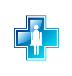 blue medical cross isolated on the white vector image